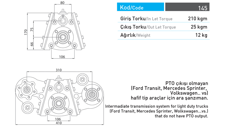 Split Shaft PTO for Small Size Vehicles